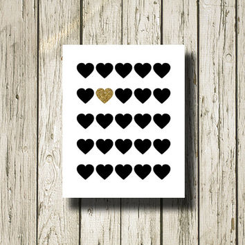Gold and Black Hearts Print Printable Instant Download Poster Wall Art Home Decor WG144w