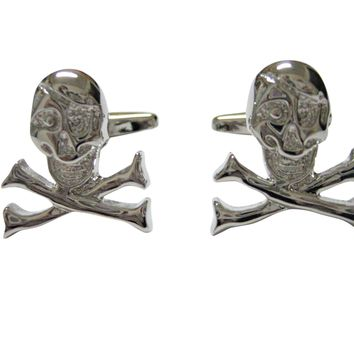 Silver Toned Shiny Skull Cross Bones Cufflinks