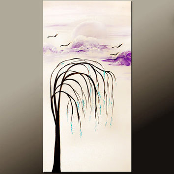 Abstract Canvas Art Original Landscape Painting 18x36 Contemporary Tree Art by Destiny Womack - dWo - In a Dream
