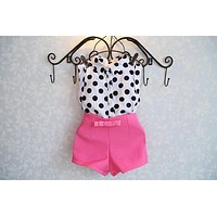 new summer girls clothing sets girl baby clothes polka dot coat + pink pants baby clothing free shipping