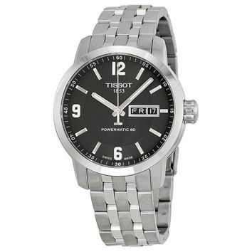 Tissot Powermatic 80 Black Dial Stainless Steel Mens Watch T0554301105700