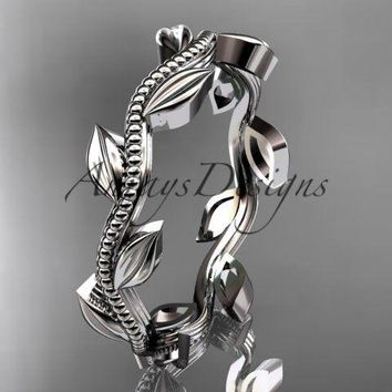 platinum leaf and vine wedding ring, engagement ring ADLR4G