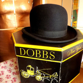 Bowler Hat, Vintage Dobbs Black Hat in original Box, Mens Derby Hat Lord & Taylor