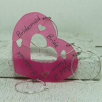 Bridal party wine glass charms 4 piece set bright pink acrylic Heart puzzle pieces