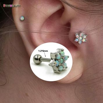 Hot Opal Stone Flower Tragus Piercing 316L Surgical Steel Ear Cartilage Helix Barbells Lip Labret Stud Earring Body Jewelry