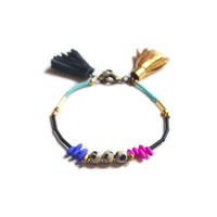 Dalmation Jasper Gemstone Beaded Bracelet with Gold and Black Tassels | Boo and Boo Factory - Handmade Leather Jewelry