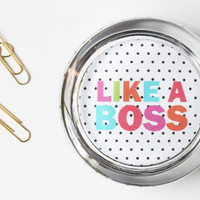 Like a Boss Paperweight Personalized Gift Custom Paper Weight Polka Dot Colorful Office Supplies Dorm Deco New Job Gift Desk Accessories