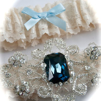 Lace and Satin Bride Garter Set with Magnificent by GarterLady