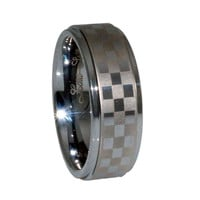 Cool chequered Man's ring in tungsten