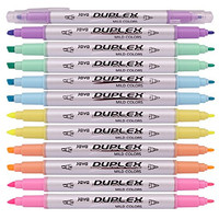 Java Duplex Mild Liner Soft Pastel Color Highlighter Pen Marker 6 Color Pack of 12 Pens (Dozen Box)
