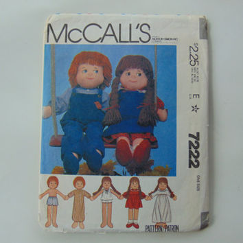 McCall's 7222 Rag Dolls and Clothes Boy and Girl 22 inch Dolls Sewing Pattern McCall's
