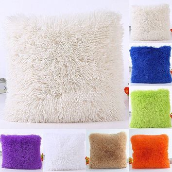 "18"" Sofa Waist Car Seat Fur Plush Winter Warm Throw Pillow Cases Cushion Cover"