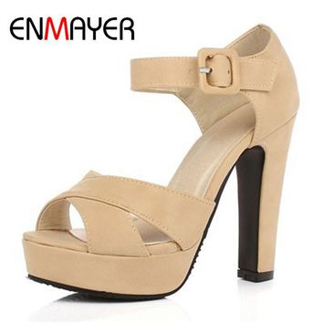 ENMAYER New Ankle Strap Summer Shoes Woman High-heeled Sandals Fashion Women Sandals W