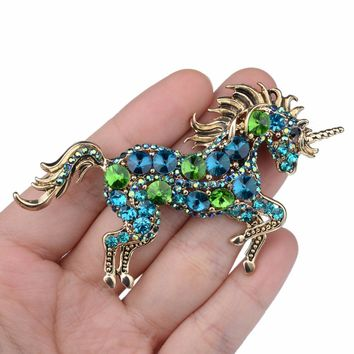 BELLA Fashion 6 Colors of Hot Running Horse Unicorn Brooch Pin For Gift Austrian Crystal Pins Charm Brooches For Party Jewelry