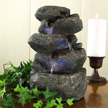 Stacked Rocks Tabletop Fountain w/LED Lights