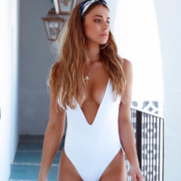 Explosive one-piece swimsuit pure color sexy one-piece swimsuit deep V-neck back fold