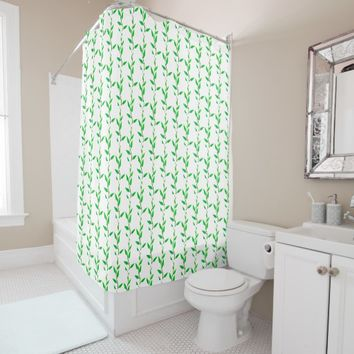 Green Plants Leaves Branches Shower Curtain