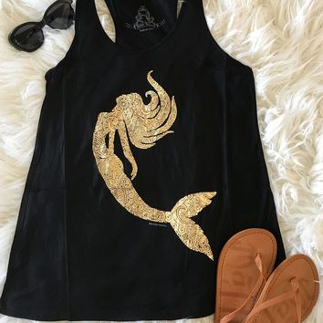 Gold Mermaid Silhouette Black Racerback Tank Top