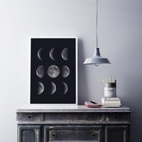 Moon Phases Print, Moon Phases Poster, Lunar Phases, Home Decor, Lunar Phases Art, Astrology Print, Moon Poster, Science Art black and white