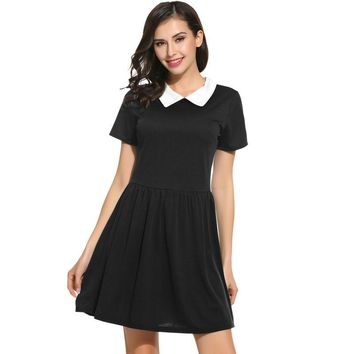 Black With White Collar Short Sleeve Skater Dress
