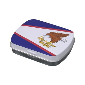 Patriotic candy tins with Flag of American Samoa