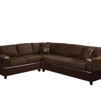 ACME 00107 Madrid Sectional Sofa Set with 2-Pillow, Chocolate Finish
