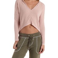 Pale Pink Cropped & Ribbed High-Low Hoodie by Charlotte Russe
