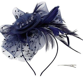 Acecharming Fascinators for Women Feather Sinamay Fascinators with Headbands Tea Party Flower Derby Hats