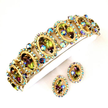 Bi-Color Art Glass Rhinestone Bracelet Earring Demi