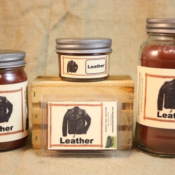Leather Scent Candles and Wax Melts, Unique Scent Candle Wax, Highly Scented Candles and Wax Tarts, Gift for Him, Strong Leather Scent
