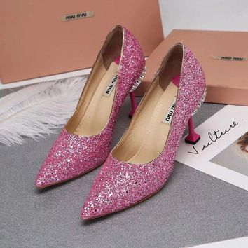 Prada Miu Miu Glitter Pumps With Jewels Pink - Best Deal Online