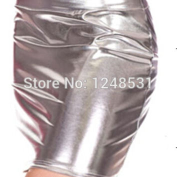 2015 lady metallic liquid pencil skirt mini skirt above knee S/M/L/XL golden silver bright color like faux leather