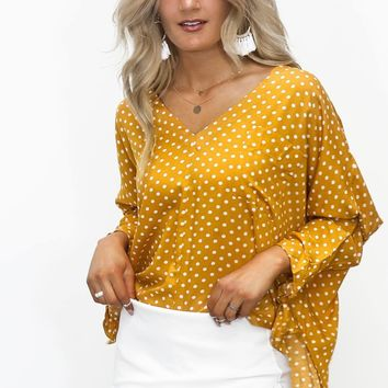 Chancing It Mustard Polka Dot Batwing Top