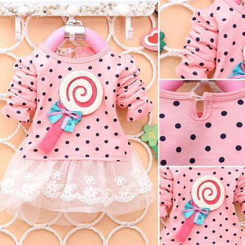 2017 Baby Kid Girls Lollipop Polka Dot Long Sleeve Lace Tutu Dress 2-4 Y New