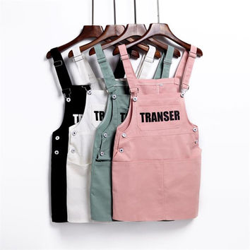 2017 spring summer women loose denim braces dress female preppy style spaghetti strap suspender dress overalls