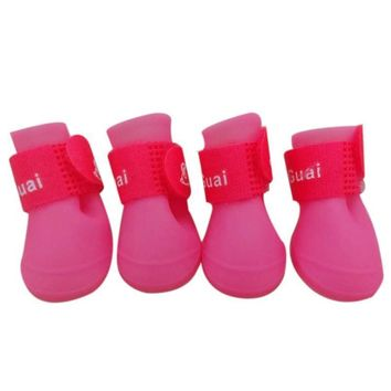 1Set 8 color Dog Candy Colors Boots Waterproof Rubber Pet Puppy doggy Rain Shoes Booti