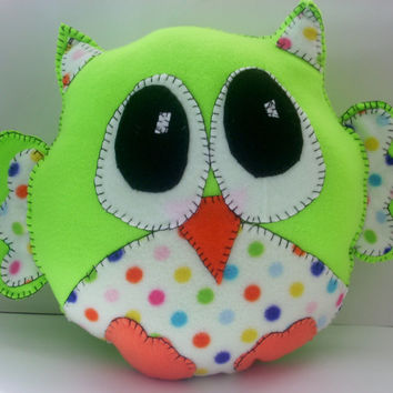 Lime green and polka dot plush owl pillow,animal pillow,plushie owl,childsafe pillow,handsewn owl,childs toy,nursery, baby's room