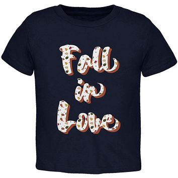 Autumn Fall in Love Leaves Pattern Toddler T Shirt