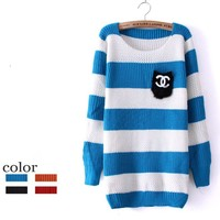 Blue stripes pocket sweater-EMS