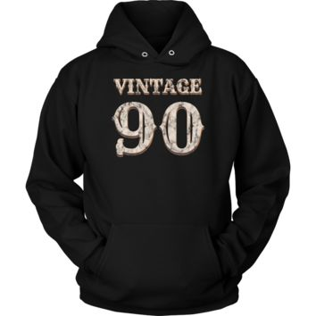 Vintage 90 Hoodie 28th Birthday Gift for 28 Year Old