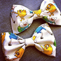 Adventure time Jake and Finn print handmade fabric bow tie or hair bow