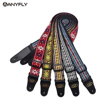 Acoustic Electric Guitar Strap Embroidery Ethnic Style National Wind Adjustable Leather Ends Musical Accessories Straps