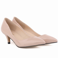 Classic Sexy Pointed Low Med Kitten Heels Women Pumps Shoes Spring Brand Design Wedding Shoes Pumps Big Size 35-42
