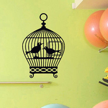 WALL DECAL VINYL STICKER ANIMAL BIRD CAGE BIRDCAGE DECOR SB572