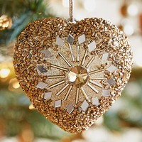 Gold Jeweled Heart Ornament