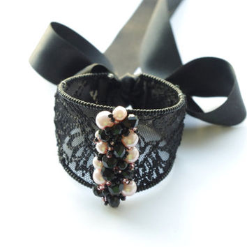 Black lace bracelet - Sexy lace jewelry - Elegant evening lace jewels - Statement bracelet - Lace bangle bracelet with ribbon bow and pearls
