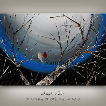 Large Landscape painting, Angel's Love Bird tree art, wall art, Original Blue landscape Birch tree Artwork, Love Bird by Nandita Albright