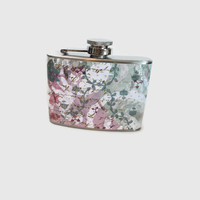 Sale - Stainless Steel Hip Flask with romantic vintage style wrap - fun retro - 4oz 6oz 2oz 1oz - vintage chic