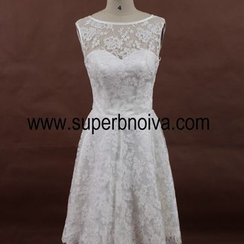 A-line Short Lace Wedding Dress, Real Photo Wedding Reception Bridal Dress BDS0067
