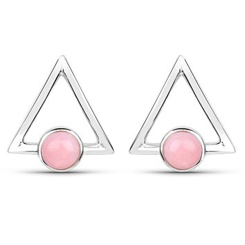LoveHuang 1.08 Carats Genuine Pink Opal Minimalist Earrings Solid .925 Sterling Silver With Rhodium Plating